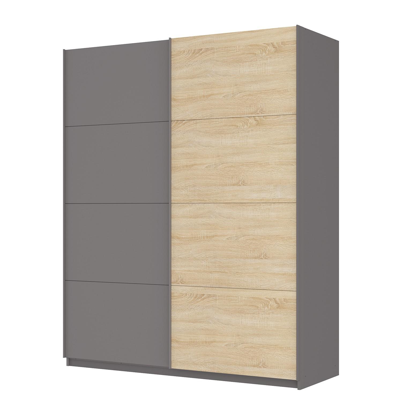 Zweefdeurkast Skøp - Grafietkleurig/Sonoma eikenhouten look/spiegel - 181cm (2-deurs) - 222cm - Basic, SKØP