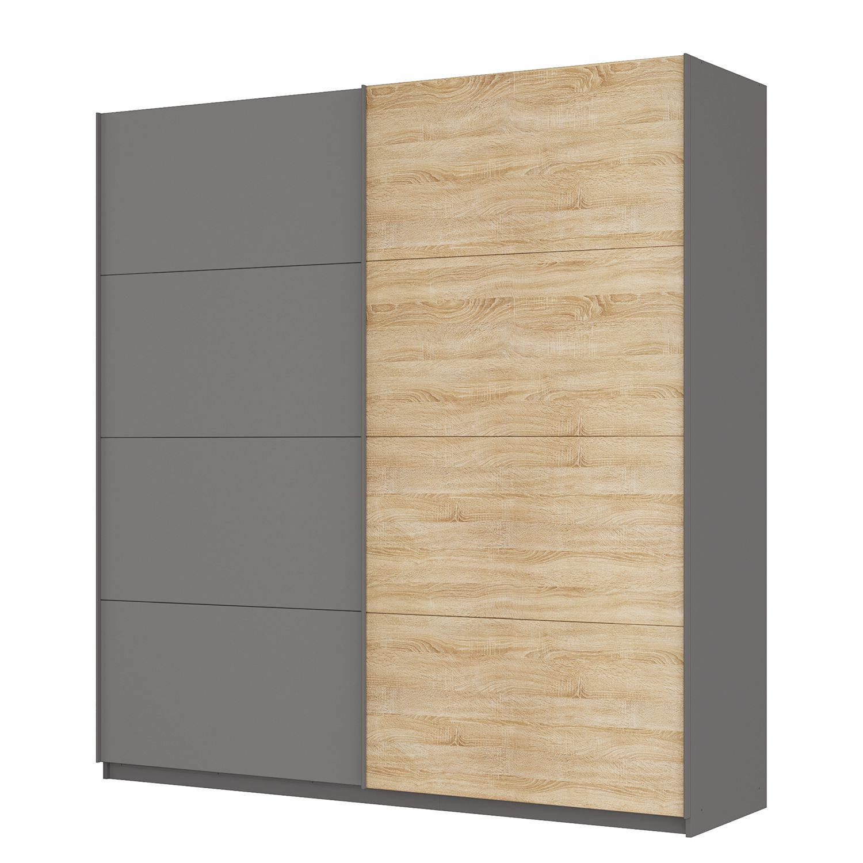 Zweefdeurkast Skøp - Grafietkleurig/Sonoma eikenhouten look/spiegel - 225cm (2-deurs) - 236cm - Comfort, SKØP
