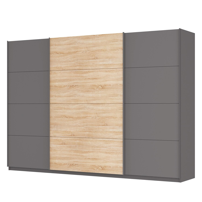 Schwebetürenschrank SKØP - Graphit / Eiche Sonoma Dekor - 315 cm (3-türig) - 222 cm - Comfort