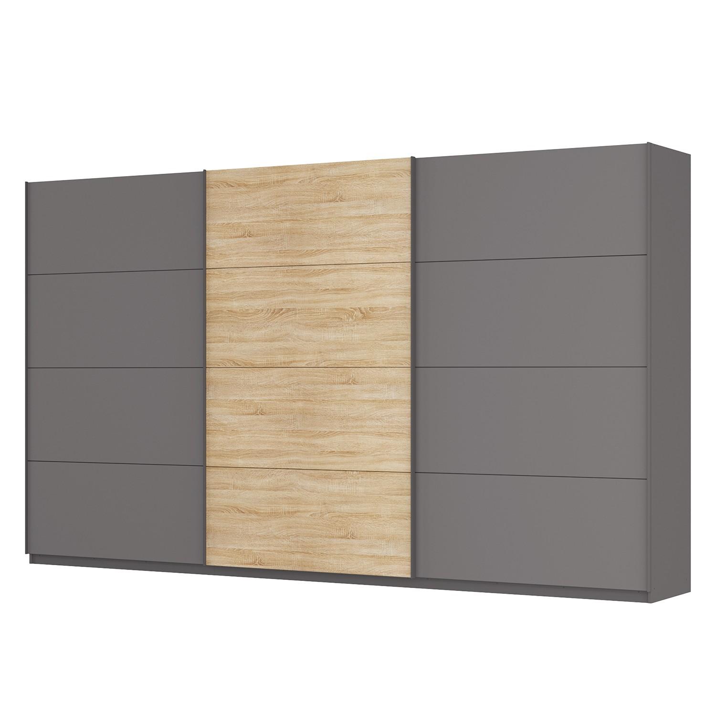 Schwebetürenschrank SKØP - Graphit / Eiche Sonoma Dekor - 405 cm (3-türig) - 236 cm - Premium