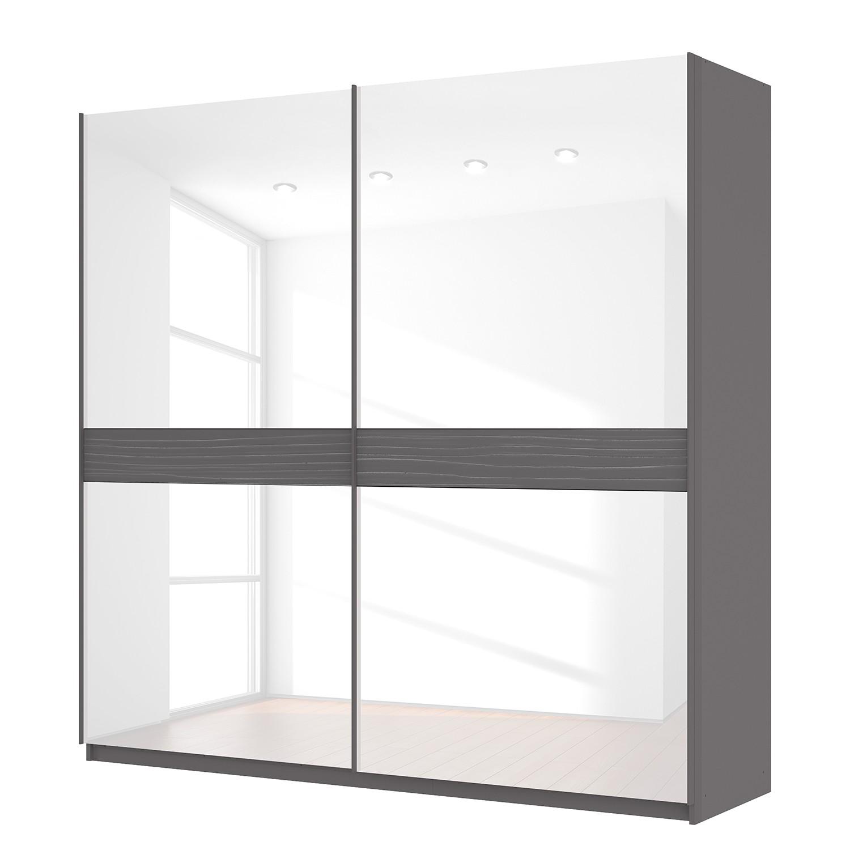 Schwebetürenschrank SKØP - Graphit / Glas Weiß - 225 cm (2-türig) - 222 cm - Comfort