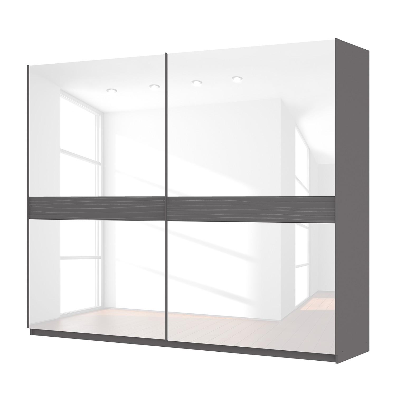 Zweefdeurkast Skøp - grafietkleurig/wit glas - 270cm (2-deurs) - 222cm - Basic, SKØP