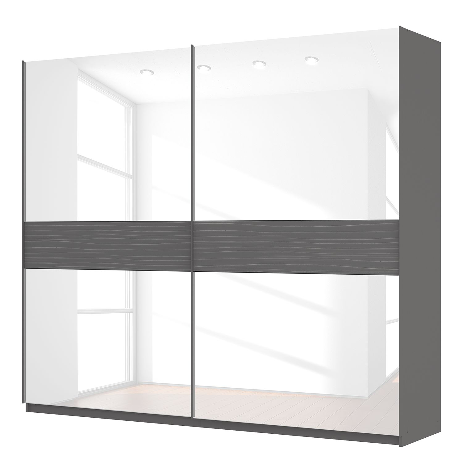schwebet renschrank sk p graphit glas wei 270 cm 2. Black Bedroom Furniture Sets. Home Design Ideas