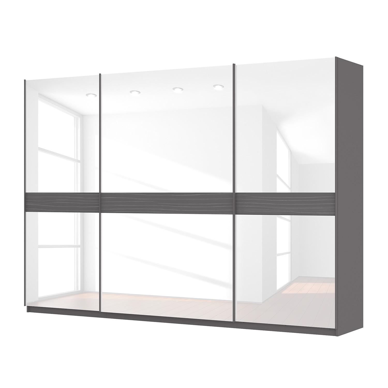 Armoire à portes coulissantes Skøp - Gris graphite / Verre blanc - 315 cm (3 portes) - 222 cm - Basi