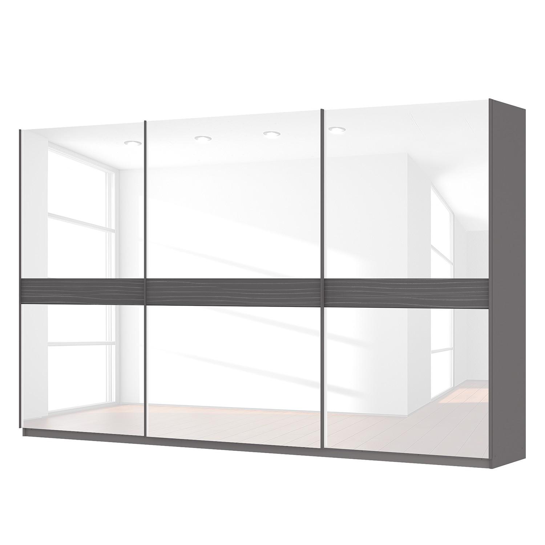Schwebetürenschrank SKØP - Graphit / Glas Weiß - 360 cm (3-türig) - 222 cm - Basic