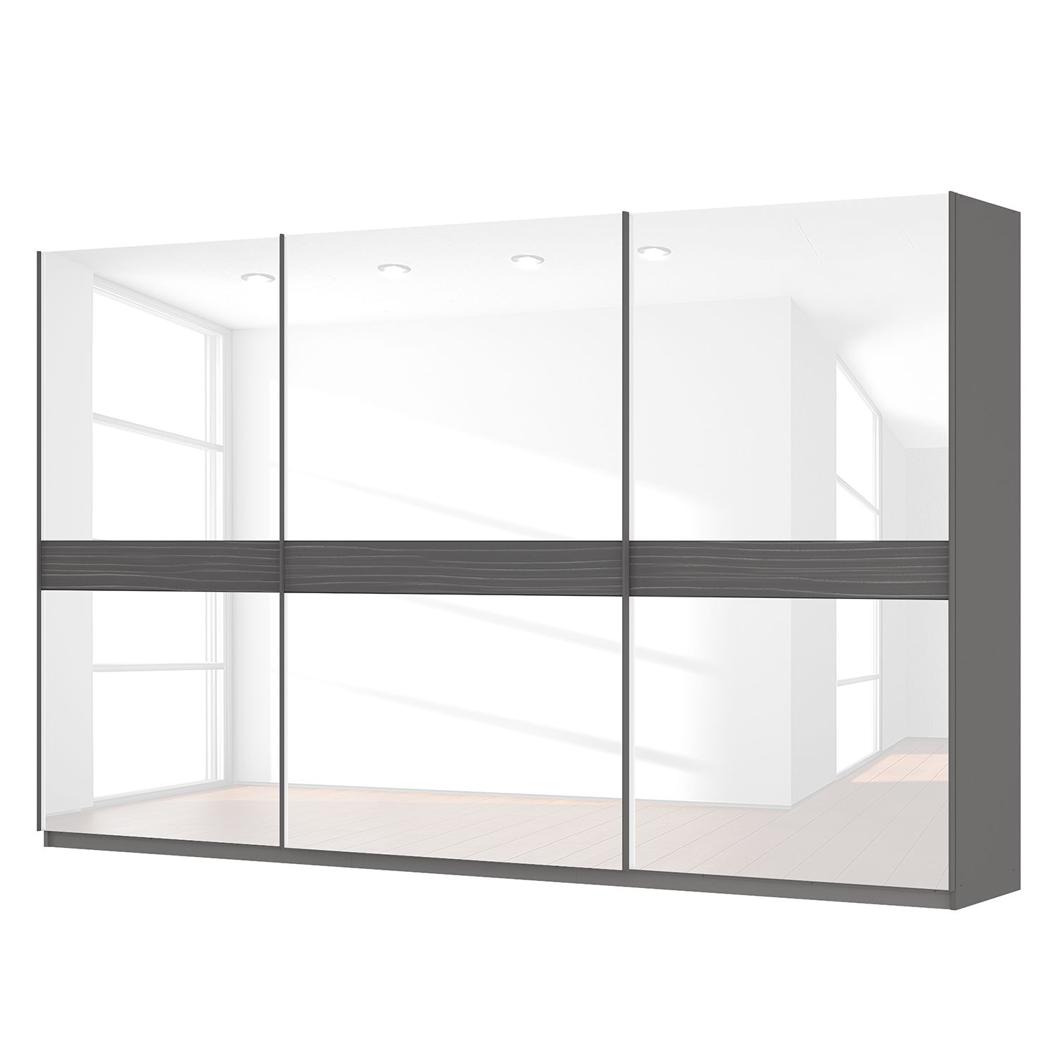schwebet renschrank sk p graphit glas wei 360 cm 3 t rig 222 cm classic online kaufen. Black Bedroom Furniture Sets. Home Design Ideas