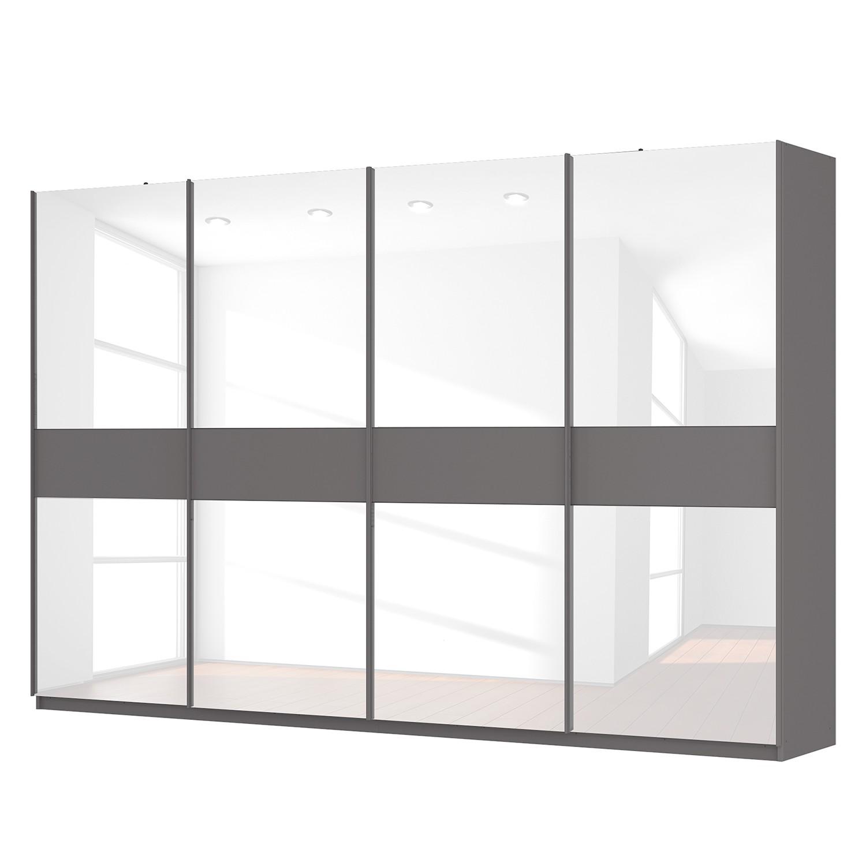 Schwebetürenschrank SKØP - Graphit / Glas Weiß - 360 cm (4-türig) - 236 cm - Premium