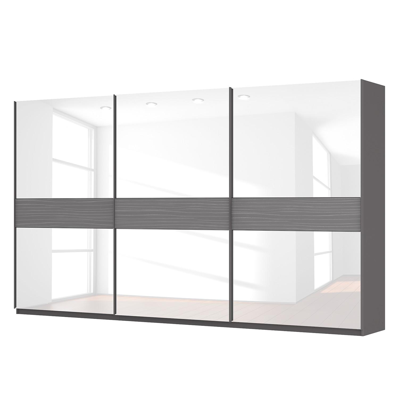 Schwebetürenschrank SKØP - Graphit / Glas Weiß - 405 cm (3-türig) - 236 cm - Basic