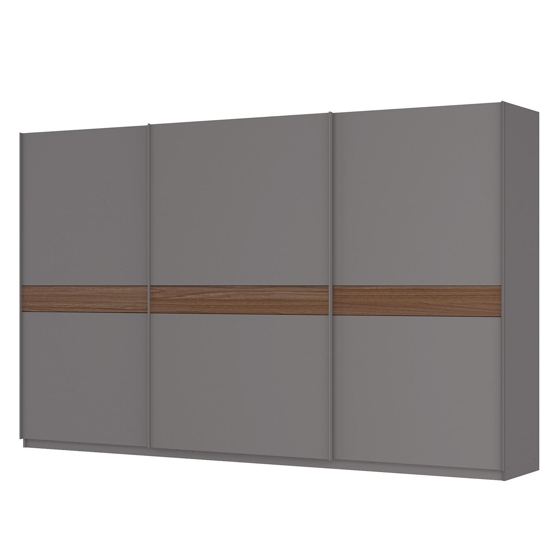 Schwebetürenschrank SKØP - Graphit / Nussbaum Royal Dekor - 360 cm (3-türig) - 222 cm - Premium