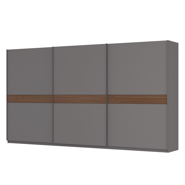 Zweefdeurkast Skøp - grafietkleurig/notenboomhouten look - 405cm (3-deurs) - 222cm - Classic, SKØP