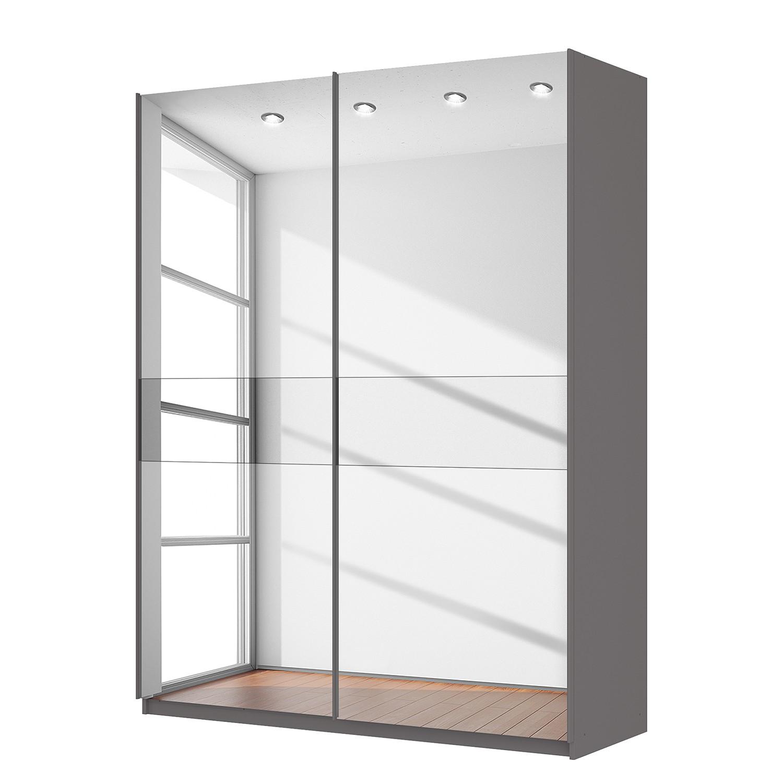 Zweefdeurkast Skøp - grafietkleurig/donker spiegelglas - 181cm (2-deurs) - 236cm - Basic, SKØP