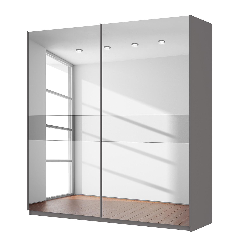 Schwebetürenschrank SKØP - Graphit / Spiegelglas / Grauspiegel - 225 cm (2-türig) - 236 cm - Comfort