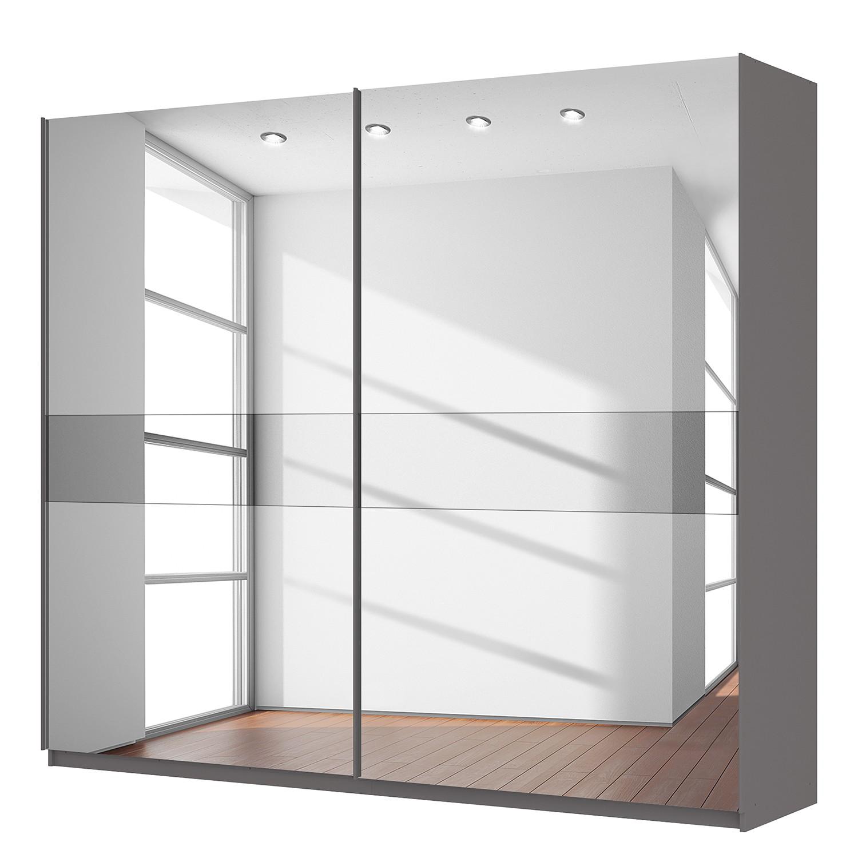 Schwebetürenschrank SKØP - Graphit / Spiegelglas / Grauspiegel - 270 cm (2-türig) - 236 cm - Comfort
