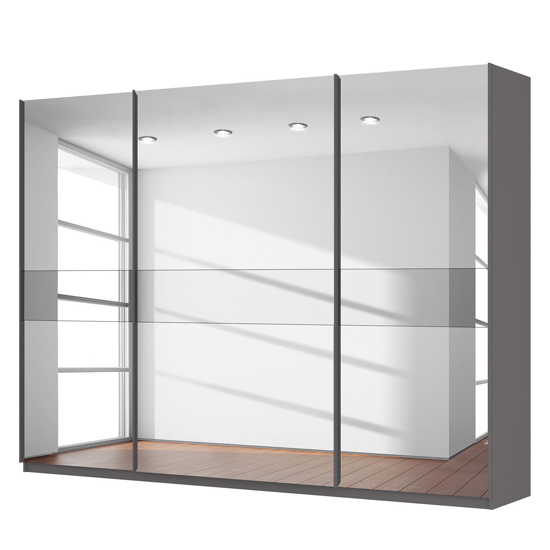 Schwebetürenschrank SKØP - Graphit / Spiegelglas / Grauspiegel - 315 cm (3-türig) - 236 cm - Comfort