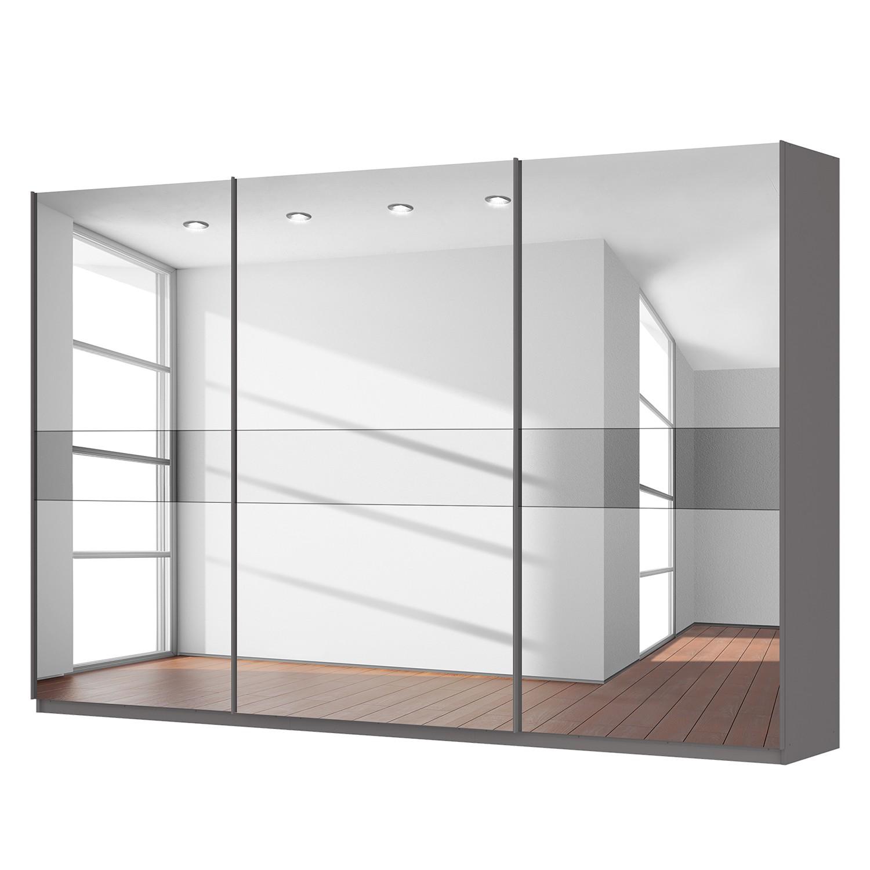 Schwebetürenschrank SKØP - Graphit / Spiegelglas / Grauspiegel - 360 cm (3-türig) - 236 cm - Premium