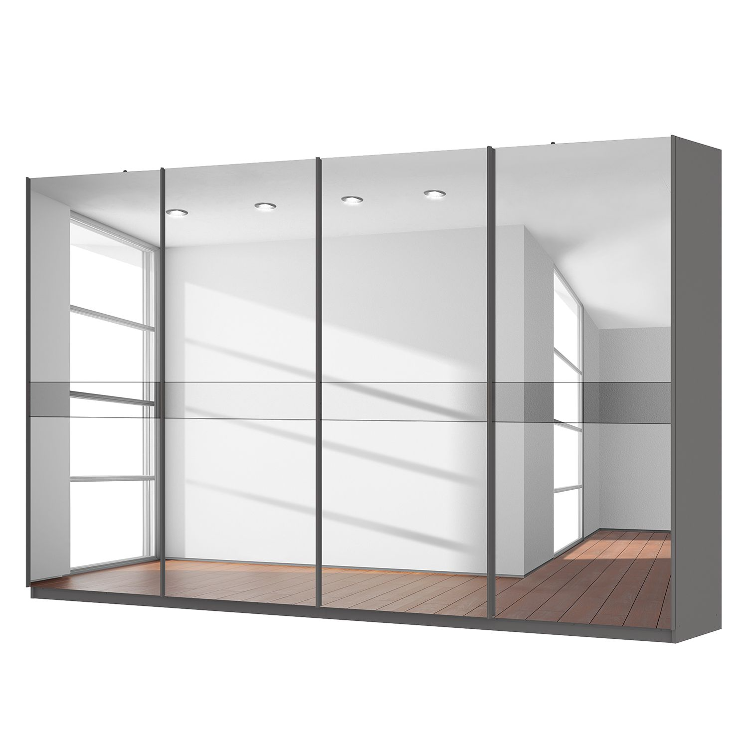 schwebet renschrank sk p graphit spiegelglas grauspiegel 360 cm 4 t rig 222 cm. Black Bedroom Furniture Sets. Home Design Ideas