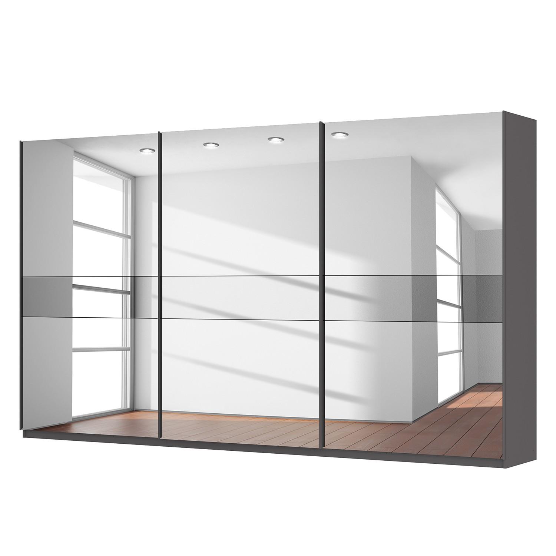 Schwebetürenschrank SKØP - Graphit / Spiegelglas / Grauspiegel - 405 cm (3-türig) - 236 cm - Premium