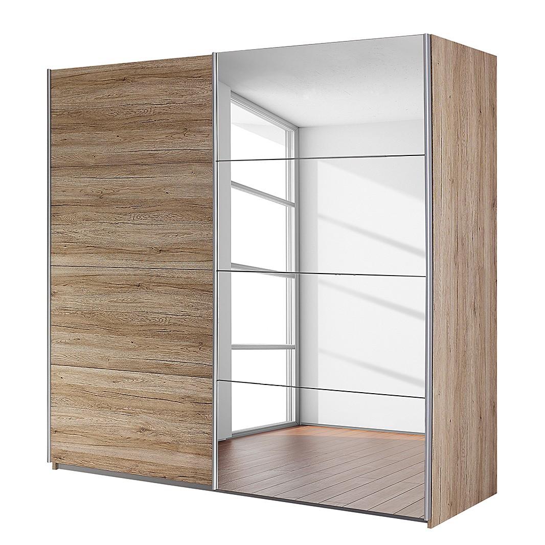Armoire à portes coulissantes Subito - 1 porte avec miroir - Imitation chêne de San Remo clair - 136