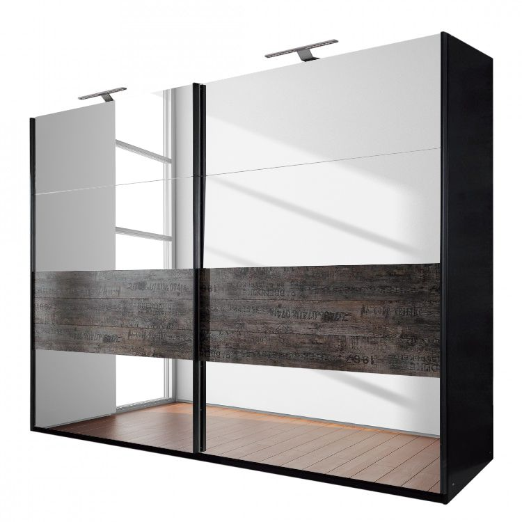 Schuifdeurkast Sumatra - spiegel/vintage bruin - Zwart/vintage bruin - 181cm (2-deurs), Rauch Select