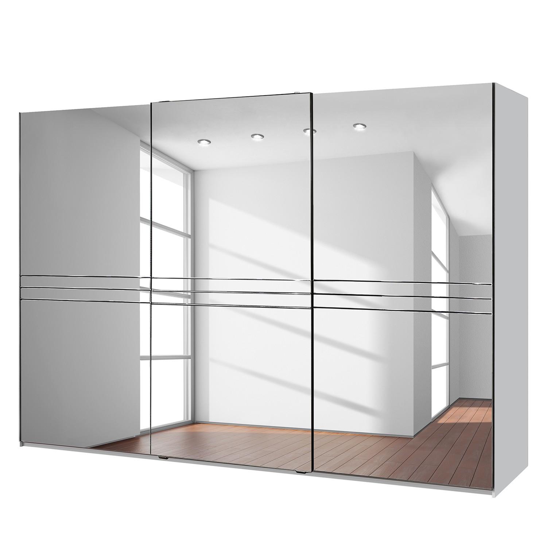 Armoire à portes coulissantes Medina - Blanc alpin / Miroir intégral - Largeur d'armoire : 300 cm -