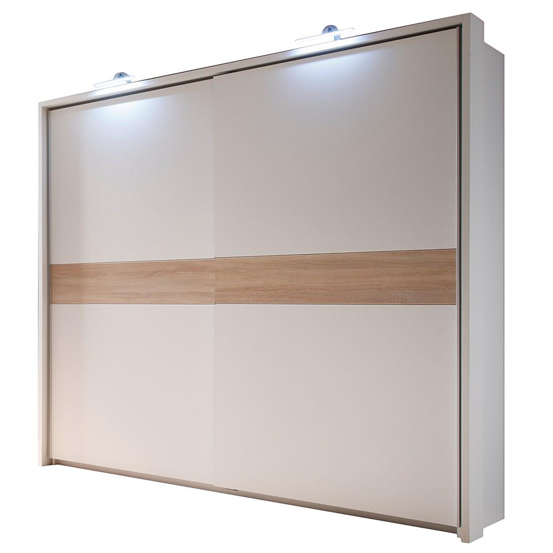 Armoire à portes coulissantes Veneta - Blanc / Imitation chêne de San Remo, mooved image