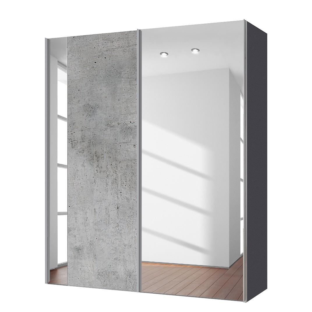Zweefdeurkast Cando - Concrete look/Spiegelglas - 150cm (2-deurs), Express Möbel