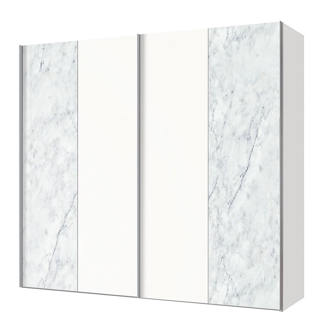 Armoire à portes coulissantes Cando - Imitation marbre / Blanc polaire - 200 cm (2 portes), Express