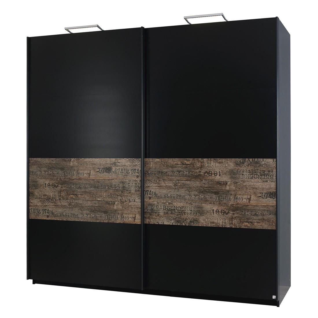Armoire à portes coulissantes Sumatra I - Noir / Brown de cru - 136 cm (2 portes), Rauch Select