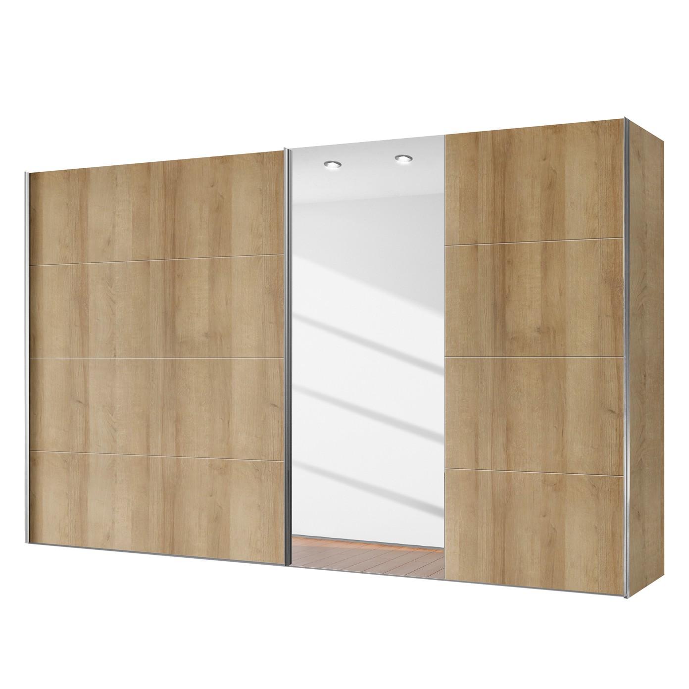Armoire à portes coulissantes Willows - Imitation chêne de Riviera / Verre de miroir - 300 cm (2 por
