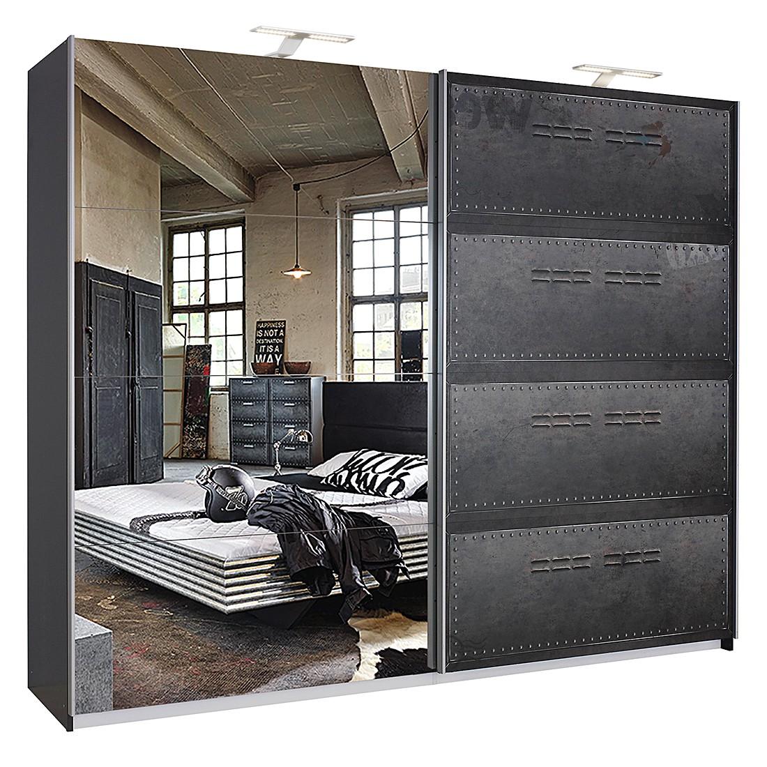 Draaideurkast Workbase - industrial print look/grafietkleurig - Met verlichting - 225cm (2-deurs), Rauch Select