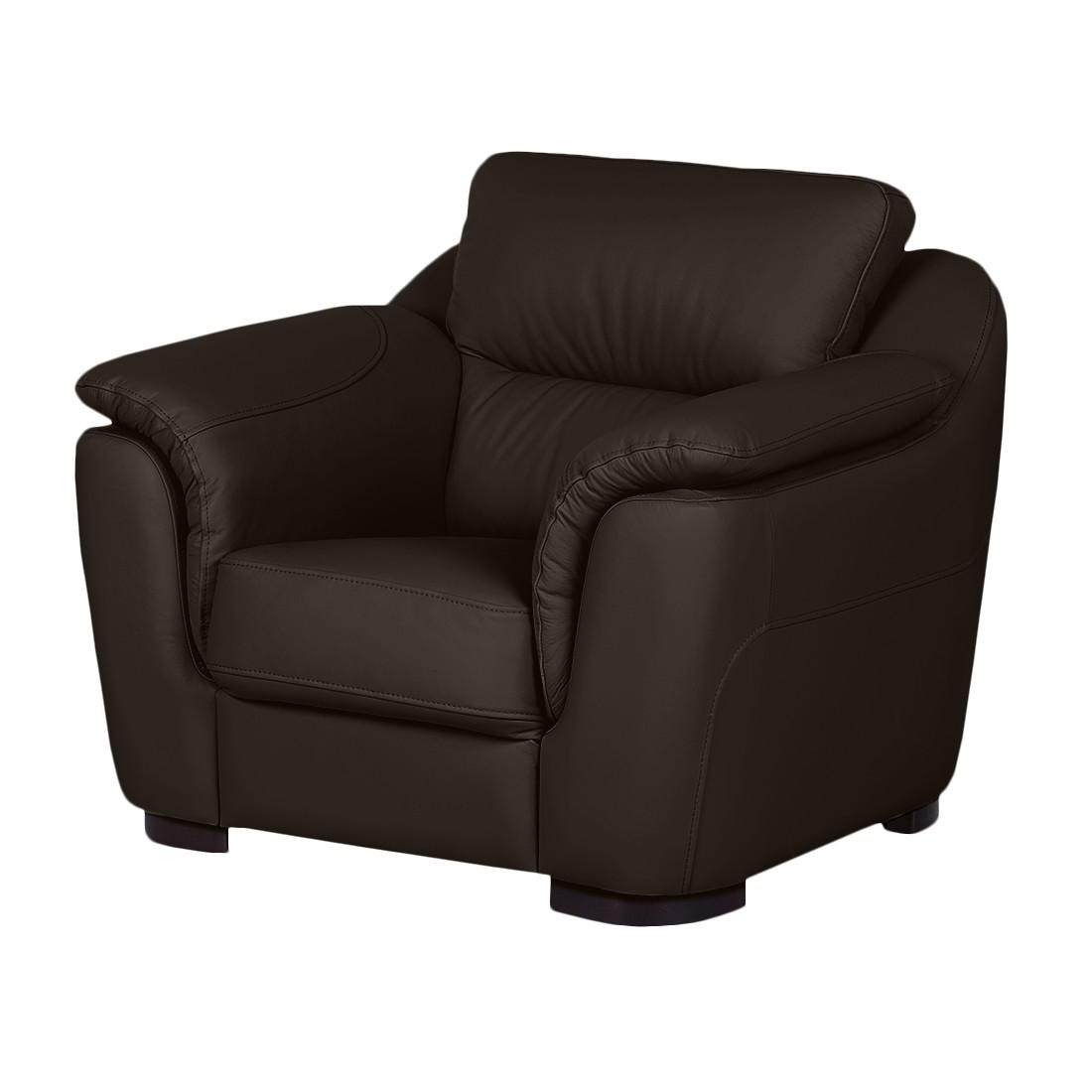 Home 24 - Fauteuil alzira - cuir véritable marron foncé, nuovoform