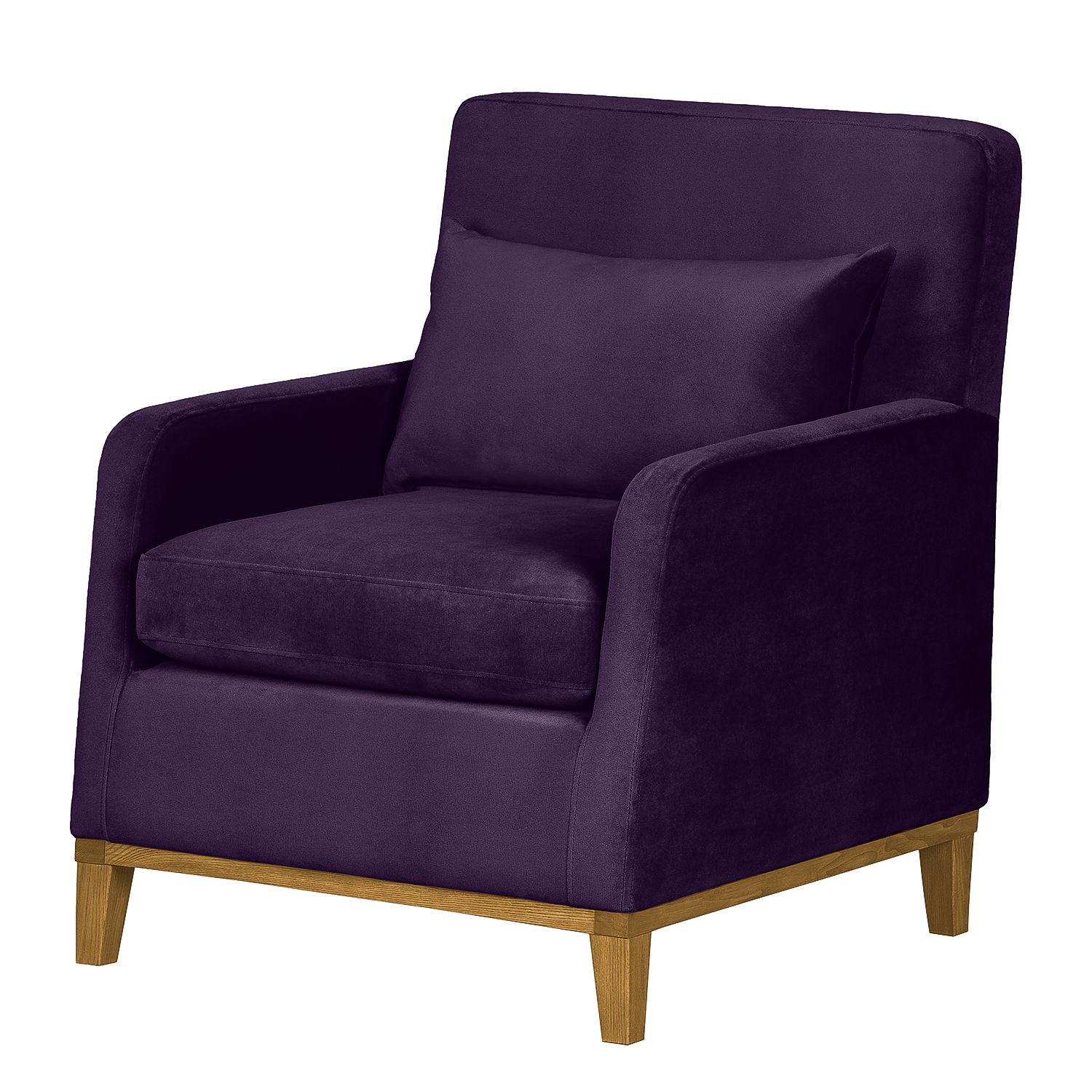 Fauteuil Blomma - Velours mauve - Chêne, Jack and Alice