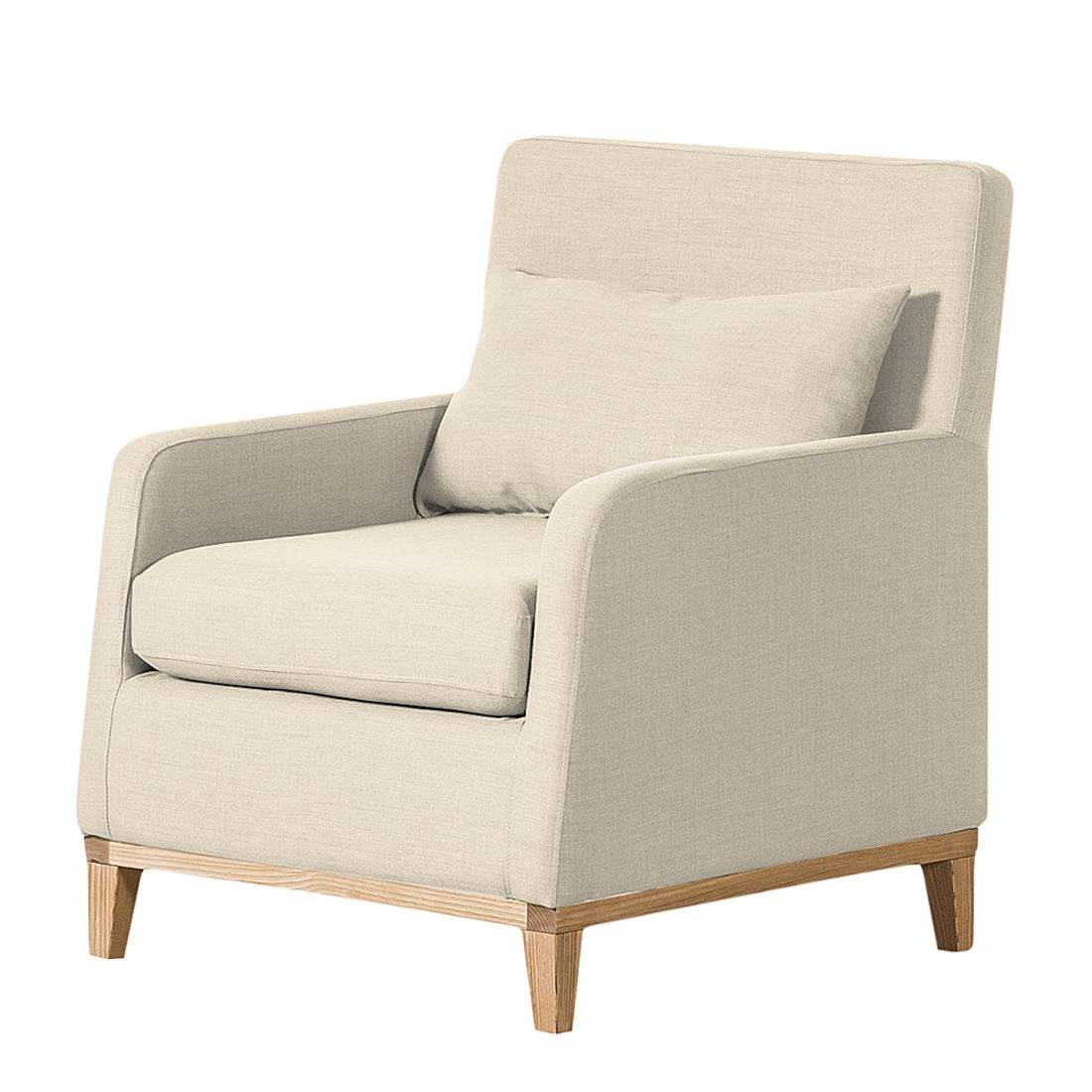 Fauteuil Blomma - Tissu beige - Structure : couleur chêne, Jack and Alice