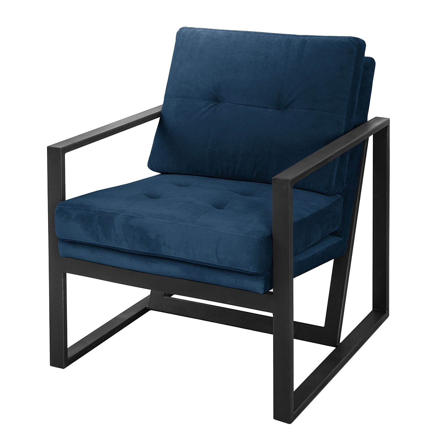 fauteuil brock i velours bleu marine ars manufacti. Black Bedroom Furniture Sets. Home Design Ideas