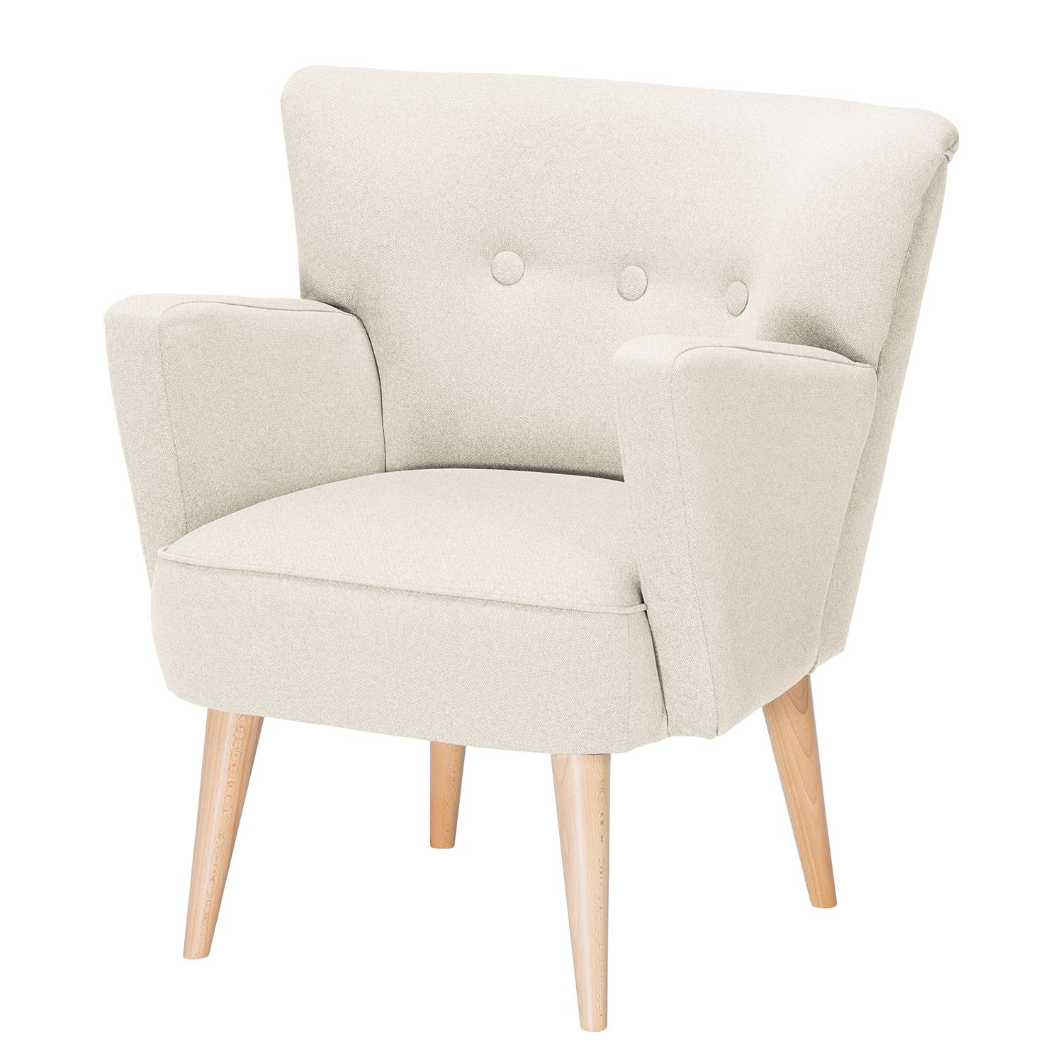 Fauteuil Bumberry - Tissu - Beige clair, Morteens