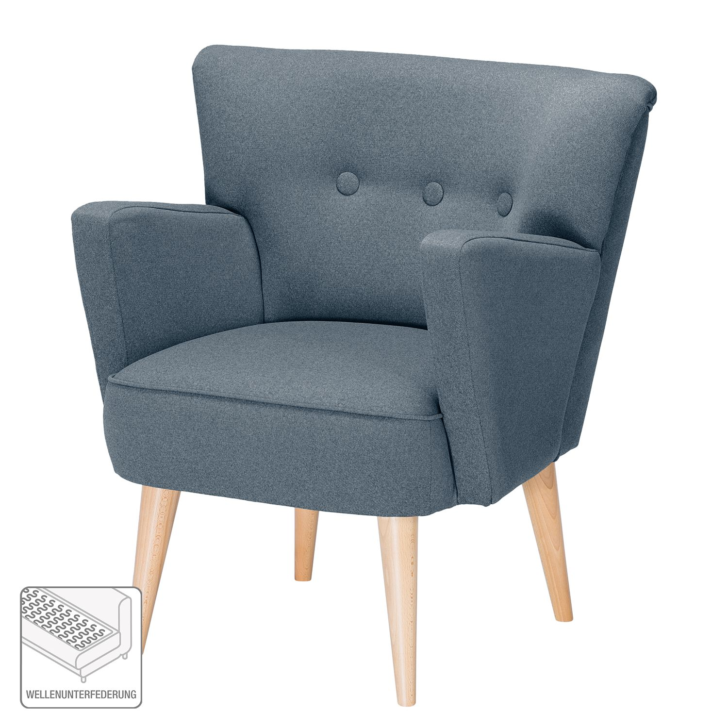fauteuil bumberry tissu bleu jean. Black Bedroom Furniture Sets. Home Design Ideas