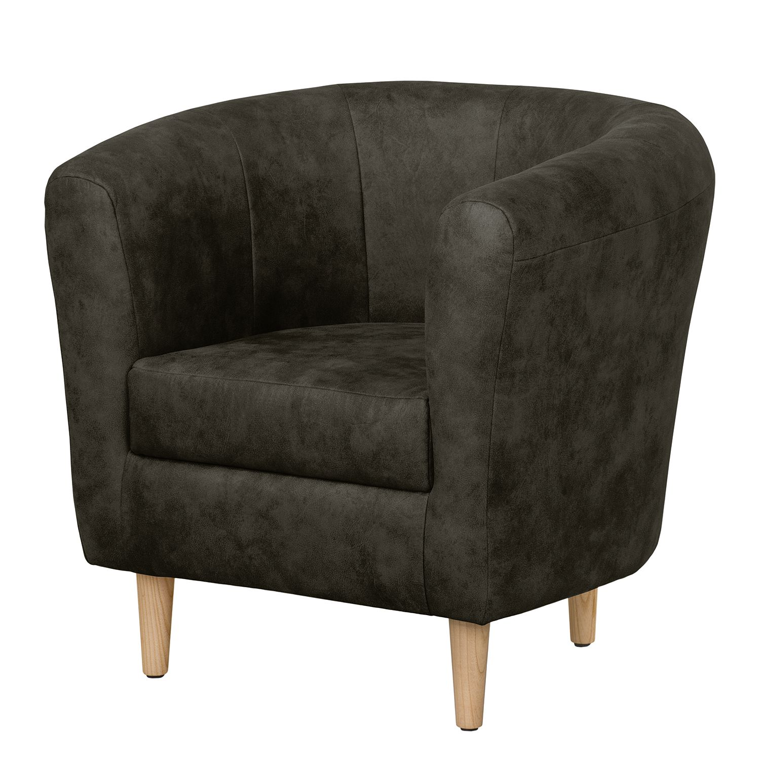 Fauteuil Casales - Aspect cuir antique - Anthracite, ars manufacti