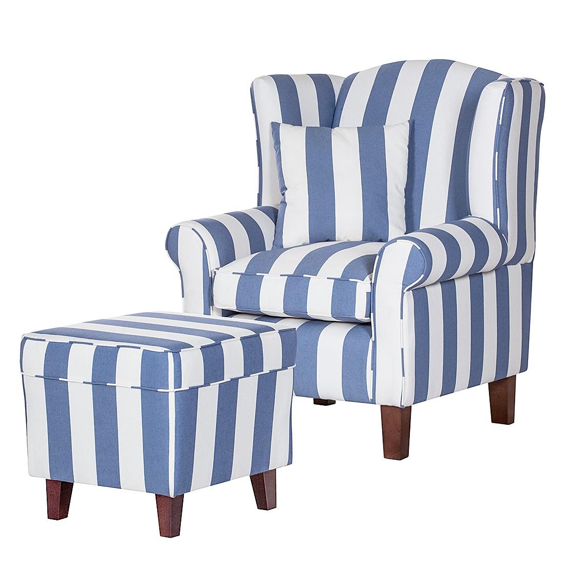 Fauteuil Colmar - Tissu bleu à rayures - Avec repose-pieds, Maison Belfort