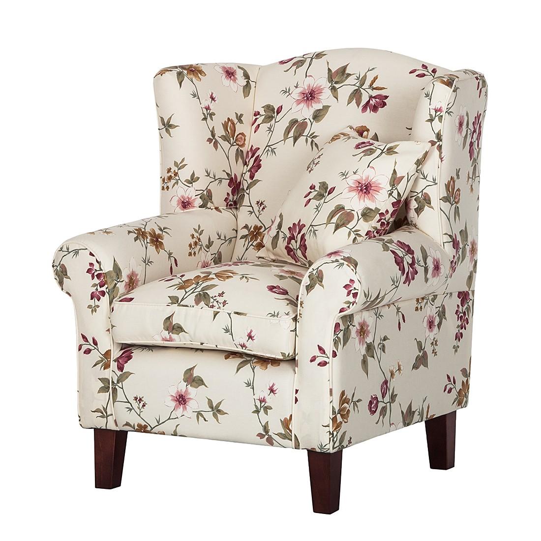 Fauteuil Red Rose - Tissu fleur beige - Sans repose-pieds, Maison Belfort