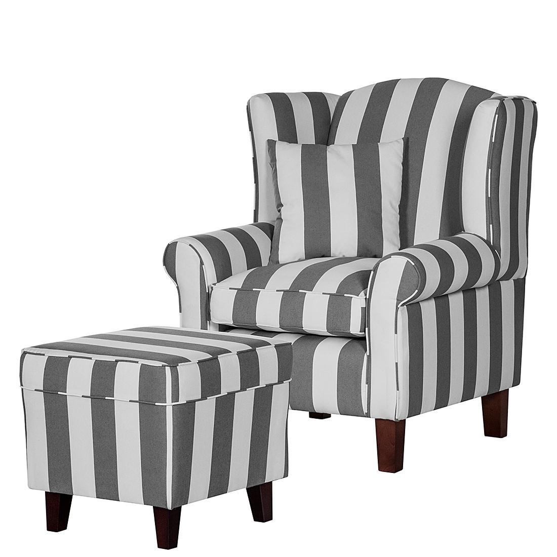Fauteuil Colmar - Tissu gris à rayures rayé Avec repose-pieds, Maison Belfort