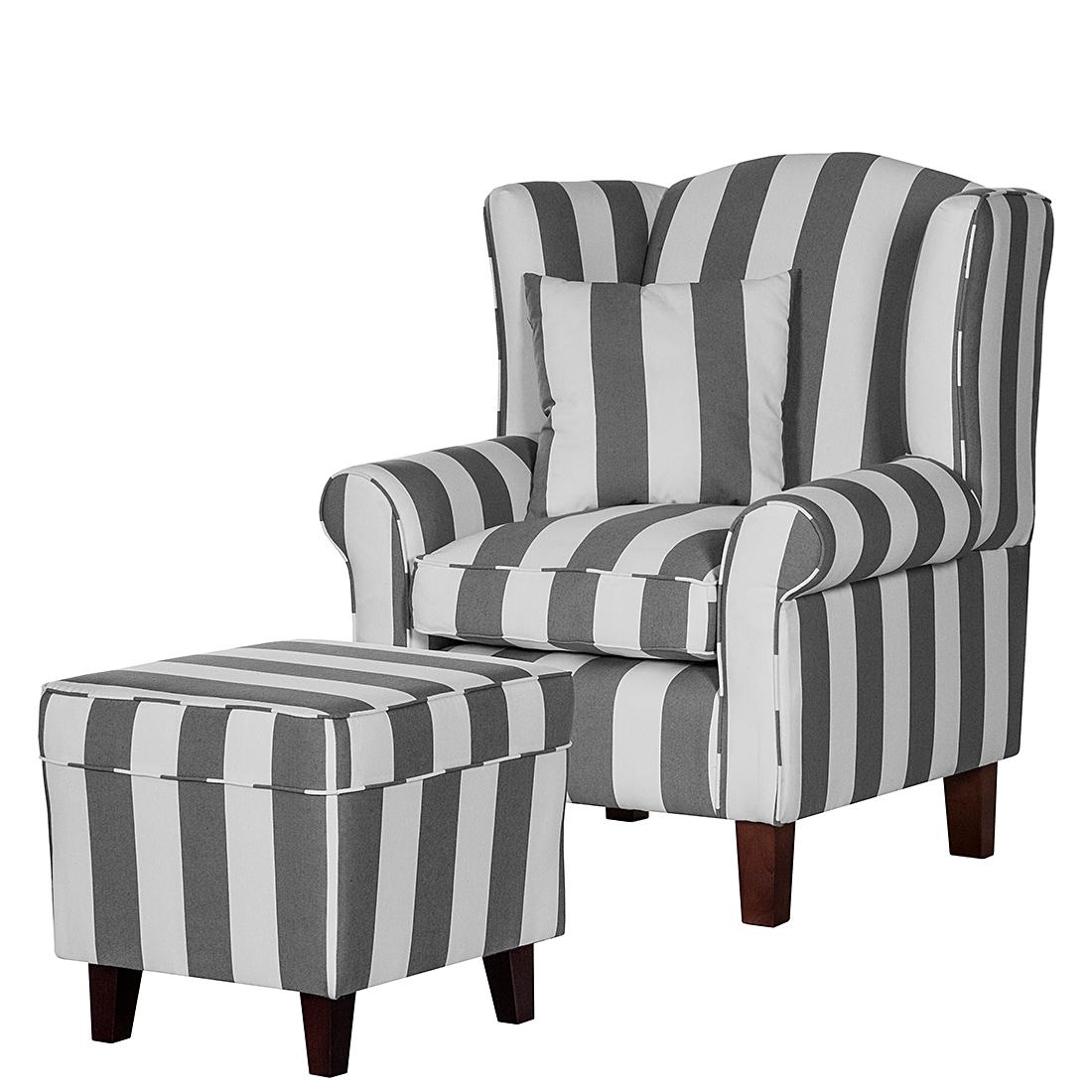 sessel colmar webstoff grau gestreift mit hocker armsessel. Black Bedroom Furniture Sets. Home Design Ideas