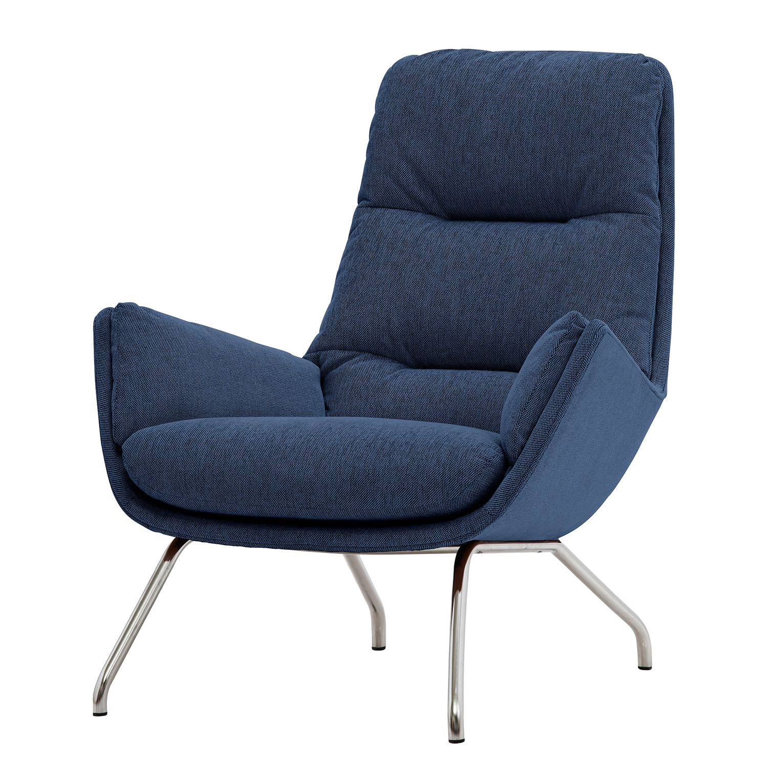 Sessel Garbo I - Webstoff - Chrom - Stoff Anda II Blau