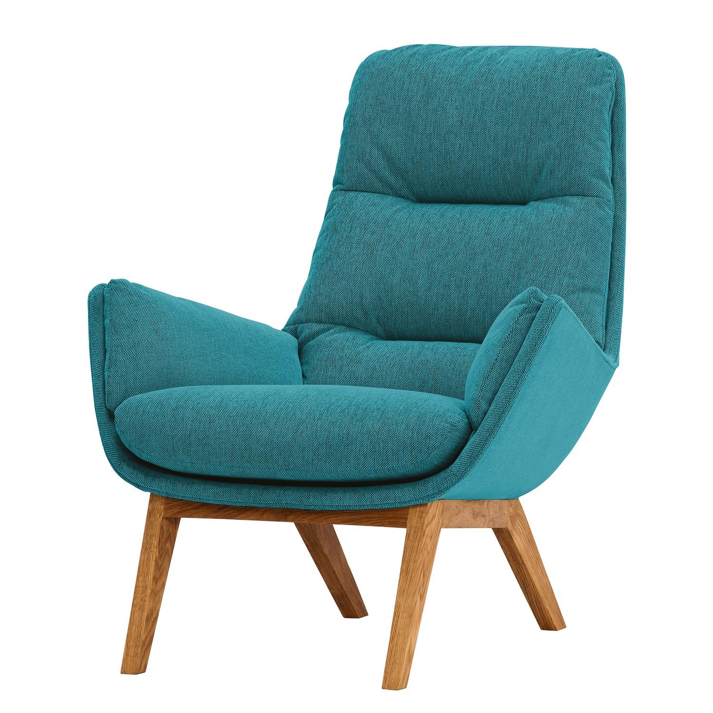 Fauteuil Garbo I geweven stof - Eikenhout - Stof Anda II Turquoise, Studio Copenhagen