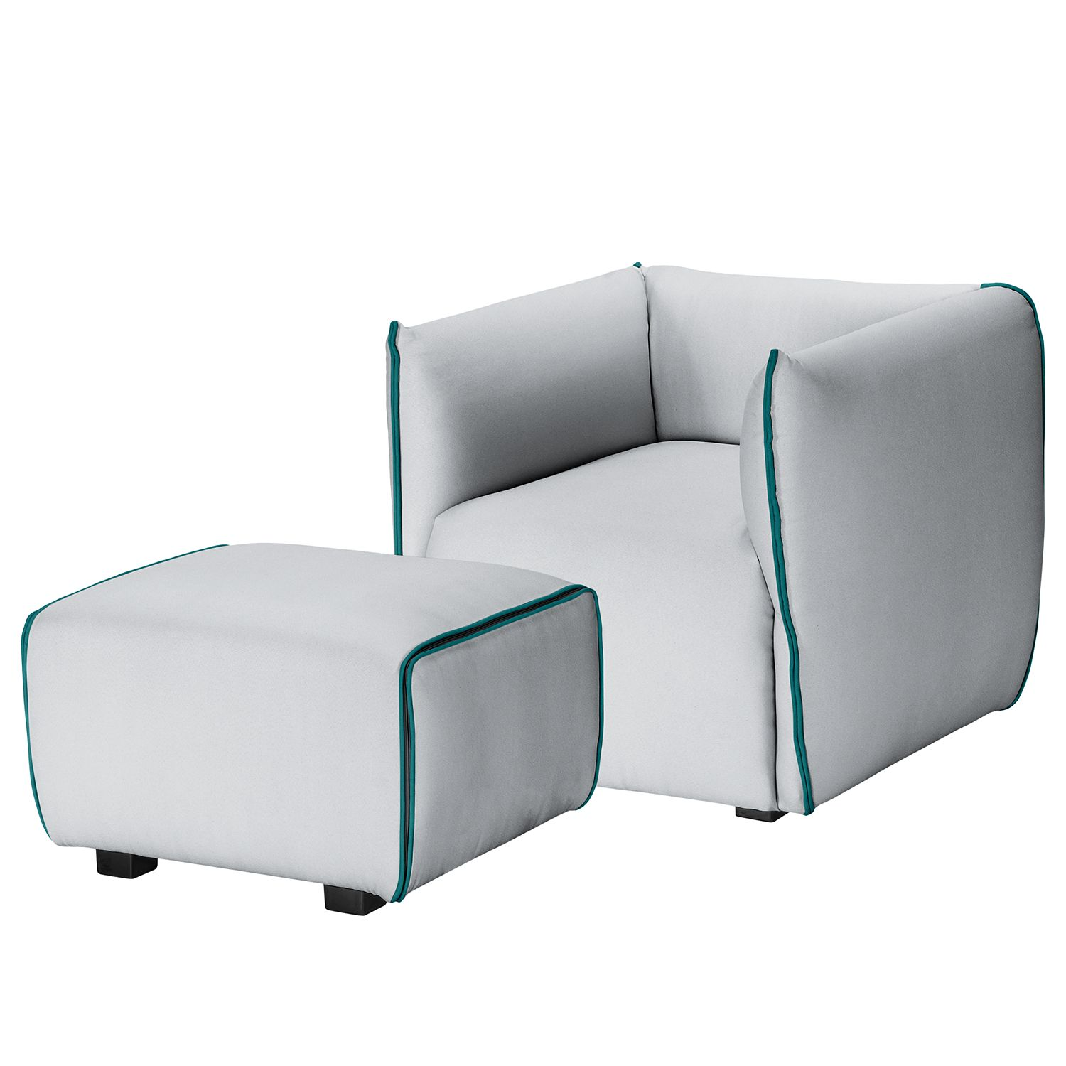 Fauteuil Grady II - Tissu - Avec repose-pieds - Gris clair / Turquoise, Fredriks