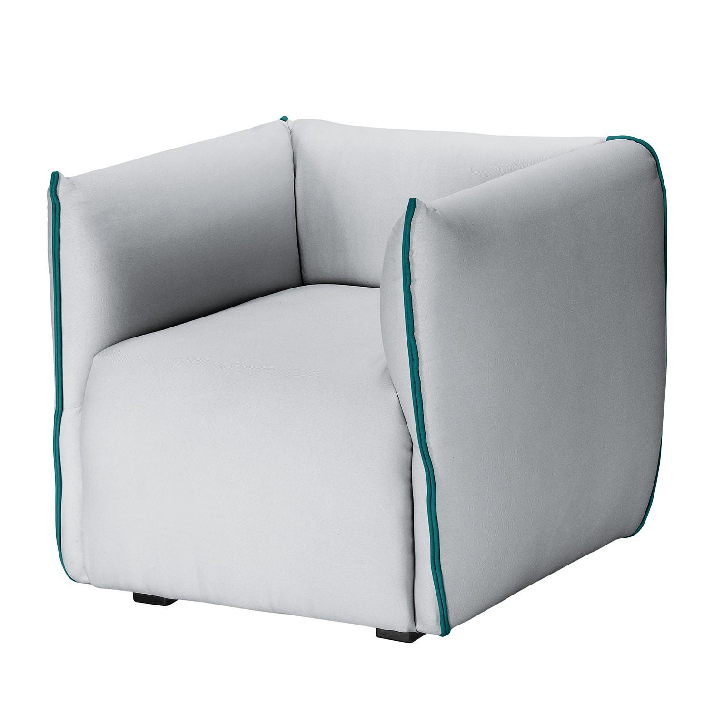 Fauteuil Grady II - Tissu - Sans repose-pieds - Gris clair / Turquoise, Fredriks