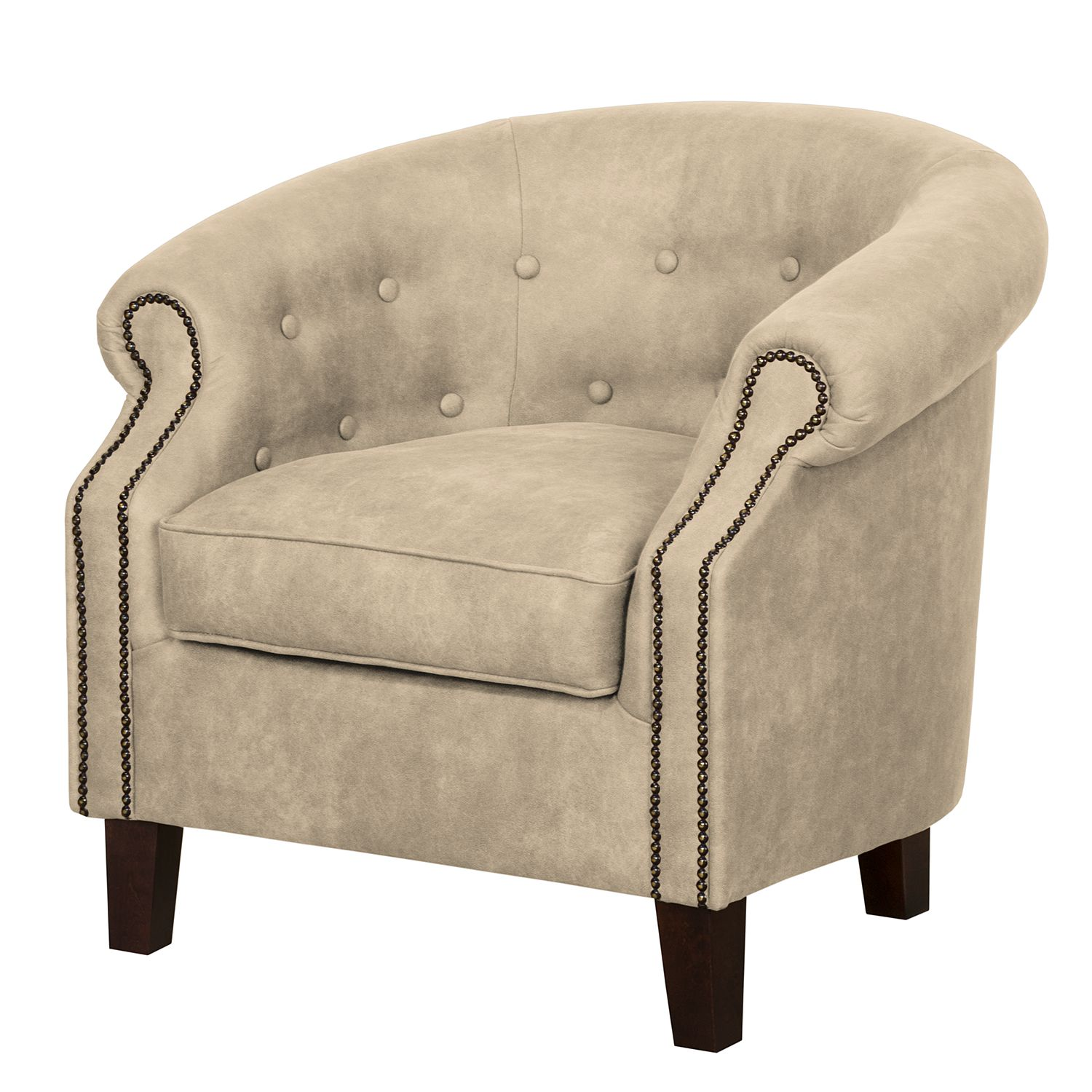 Fauteuil Great Hale III - Aspect cuir ancien - Beige chaud, Jack and Alice