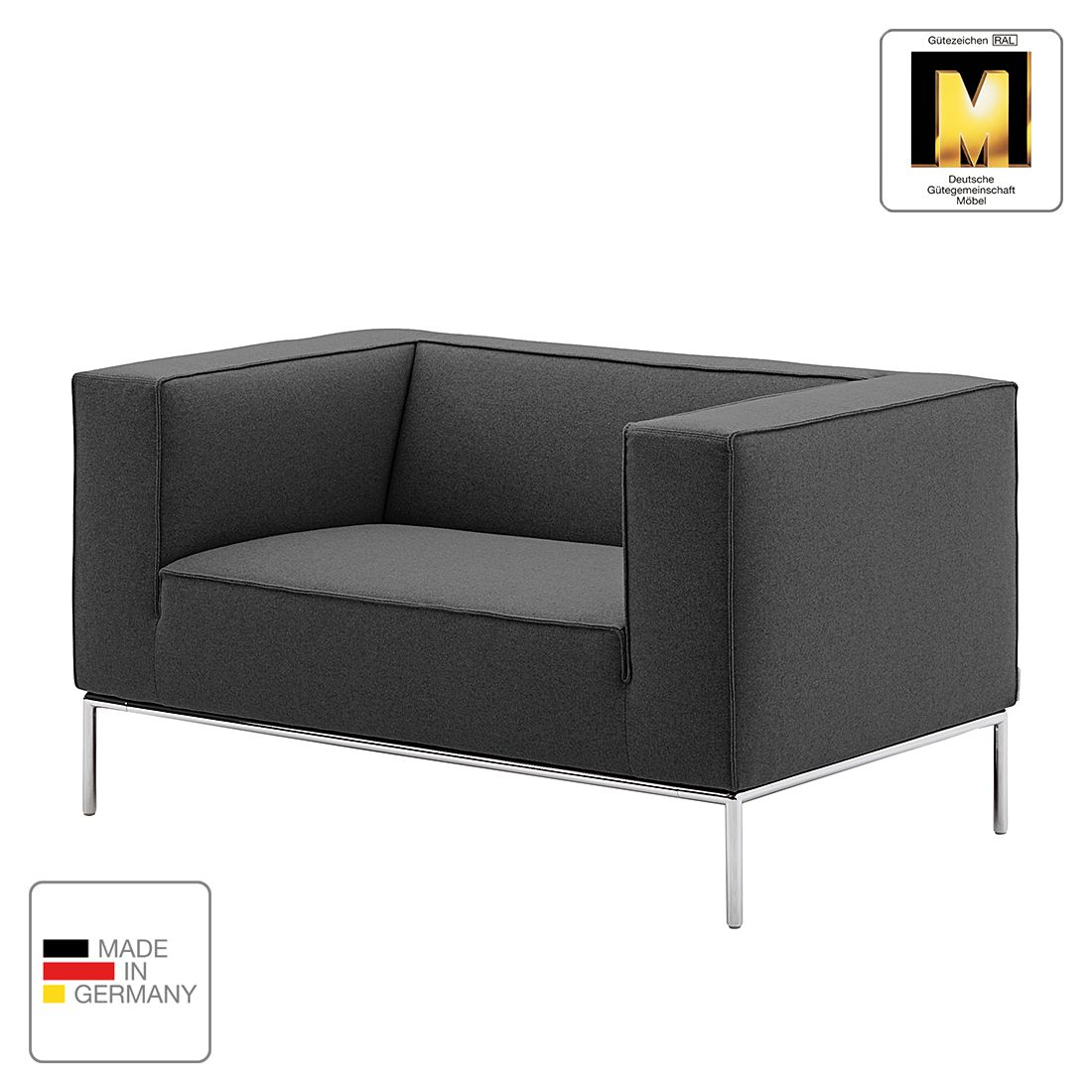 sessel greg webstoff anthrazit ohne kissen machalke polsterwerkst tten g nstig online kaufen. Black Bedroom Furniture Sets. Home Design Ideas