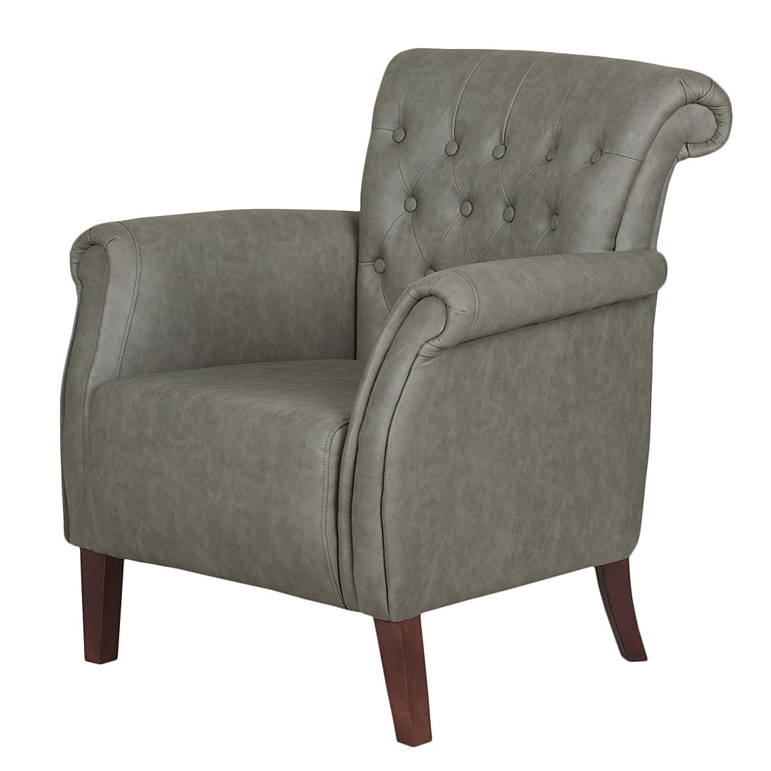 Fauteuil Harmonia - Cuir synthétique - Gris, ars manufacti