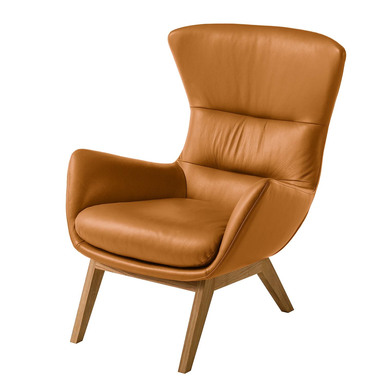 Sessel Hepburn I - Echtleder - Eiche - Echtleder Neka Cognac
