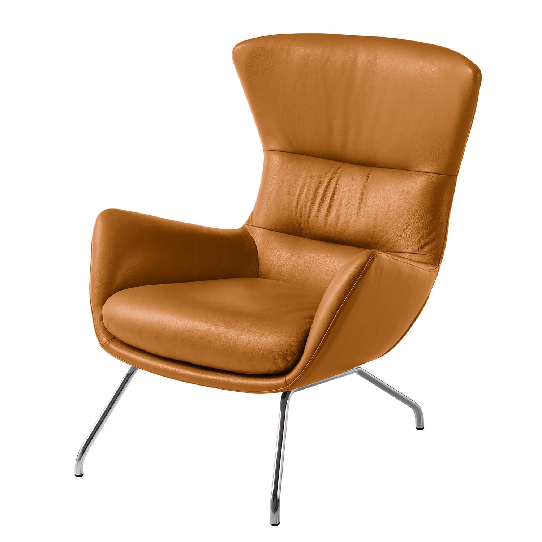 Sessel Hepburn II - Echtleder - Chrom - Echtleder Neka Cognac